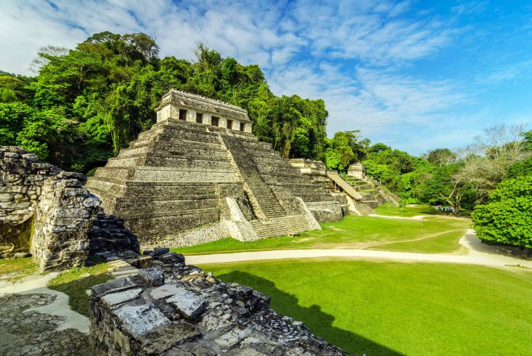 Ancient Mayan temples in the ruined city of Palenque Mexico