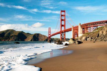 Golden Gate Bridge in San Francisco shot from Marshall Beach.